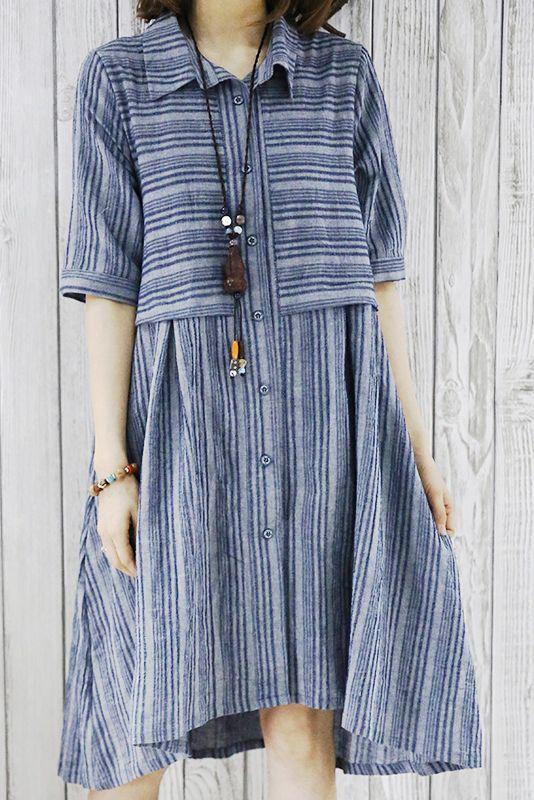 2016 New summer dress half sleeve grid plus size fit flare shirt dress blouse