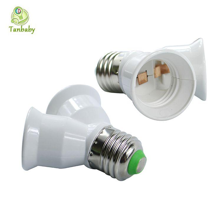 Tanbaby Tahan Api E27 untuk 2 E27 Lampu pemegang Converter Socket untuk Led Cahaya Lampu E27 Sekrup Splitter Adapter Putih