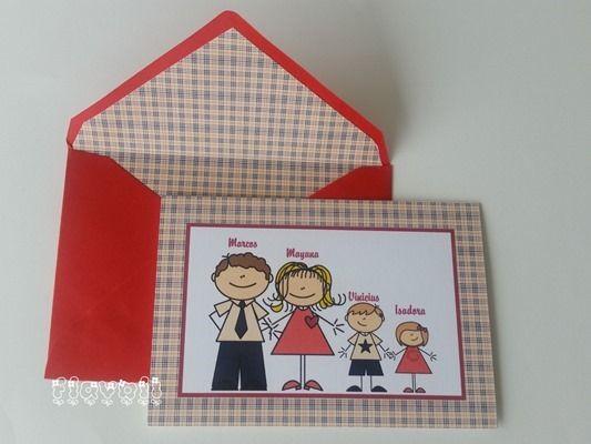 Cartão duplo com envelope forrado - Família com estampa Burberry  :: flavoli.net - Papelaria Personalizada :: Contato: (21) 98-836-0113 - Também no WhatsApp! vendas@flavoli.net