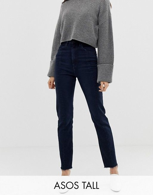 3376e53e DESIGN Tall Recycled Farleigh high waist slim mom jeans in dark wash blue  with front seam detail in 2019 | Wardrobe | Pinterest | Slim mom jeans, ...