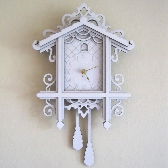 White cuckoo clock modern laser cut cardboard wall decor cuckoo clocks clocks and laser cutting - Modern coo coo clock ...