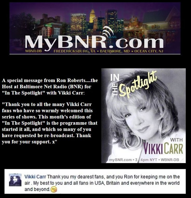 """Thanks from the lovely Vikki Carr on my monthly Baltimore Net Radio """"In The Spotlight"""" series."""