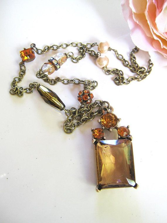 Art Deco Pink Glass Pendant Necklace Blush by BlueArtichokeDesigns