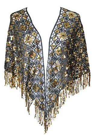 Alivila.Y Fashion Triangle Ruffle Sequins Wedding Evening Scarf Shawls A25