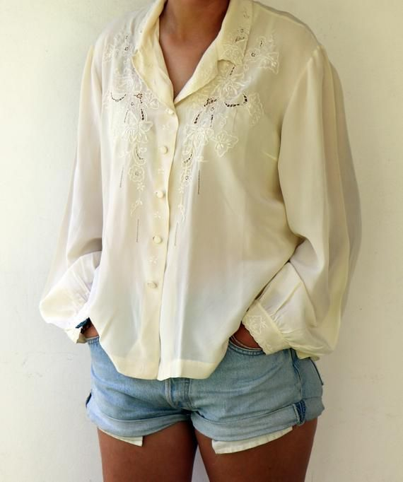 43123508e06c37 Silk Blouse, Vintage 80s Hand Embroidered Ivory Cream Lace Blouse White  Boho Hippie High Fashion Cutout Floral Silk Shirt 70s // M/L in 2019 ...
