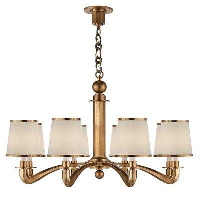 AERIN Kensington Chandelier Antique Brass Dining Room