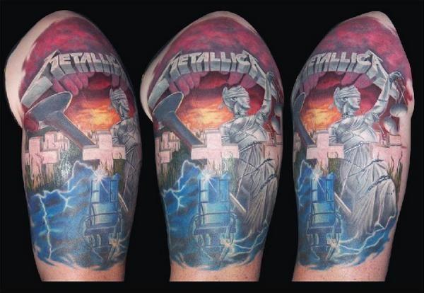Kill 39 em all ride the lightning master of puppets for Metallica sleeve tattoo