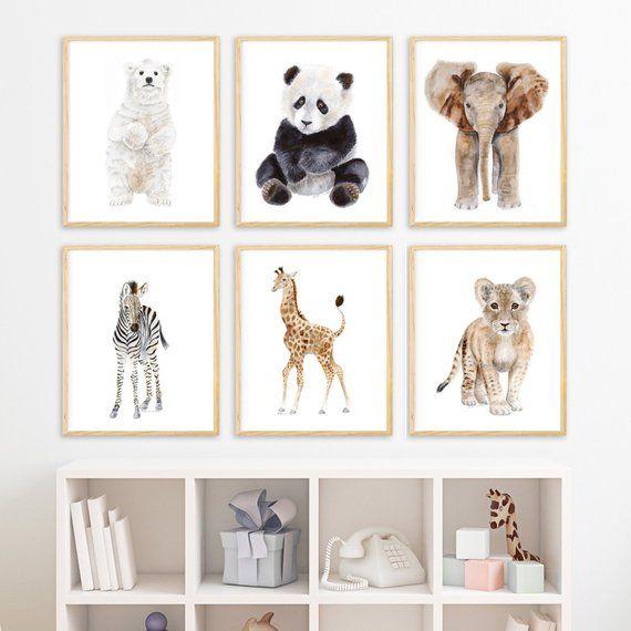 Nursery Decor Animal Nursery Prints Zoo Animal Wall Art | Etsy | Baby Animal Nursery Art, Animal Baby Room, Baby Animal Nursery