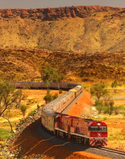 The Ghan, heading towards Alice Springs, Northern Territory.  One of the trip to…