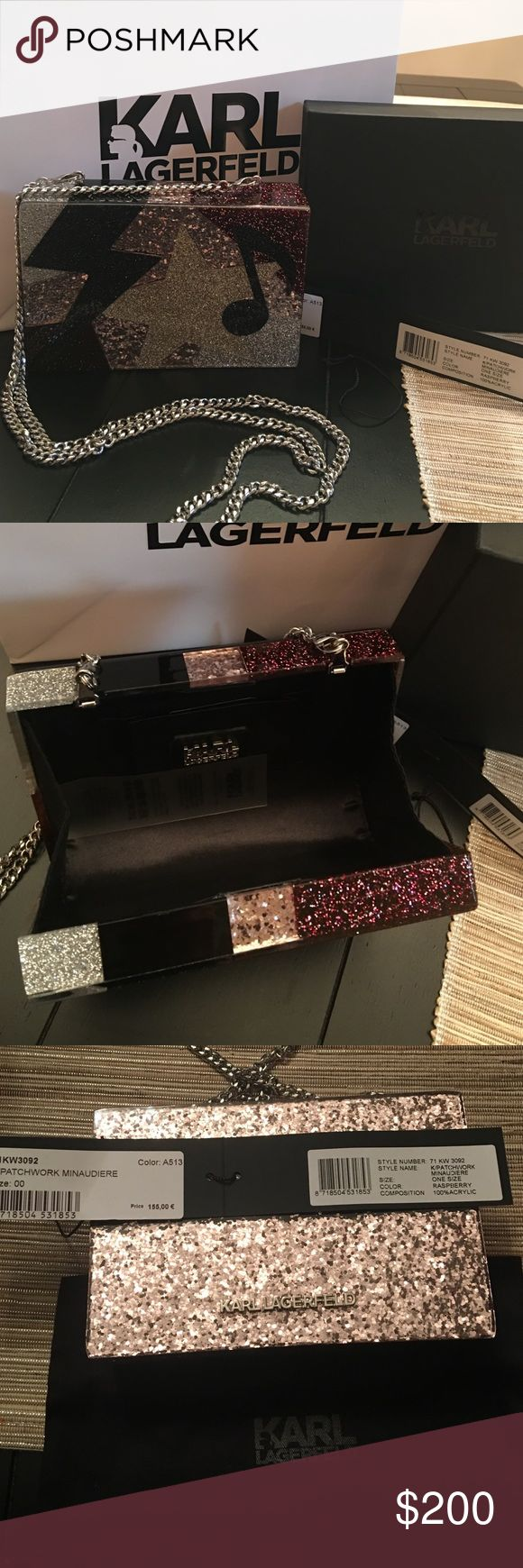 Exclusive Auth Karl Lagerfeld clutch Auth Karl Lagerfeld clutch bought in Paris - clutch is not sold in the US. Brand New. Comes with tags, Karl Lagerfeld pouch - all original packaging. Karl Lagerfeld Bags Clutches & Wristlets