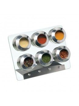 KitchenCraft HomeMade Magnetic Spice Rack 6 Piece Set £20, looks nicer and sturdier than the usual magnet spice holders that are sometimes so difficult to open (lid often stuck)     Glass rack is handwash only     Size: spice jars, 6cm (H) x 4cm (Dia)     Size: spice rack, 23cm x 18cm