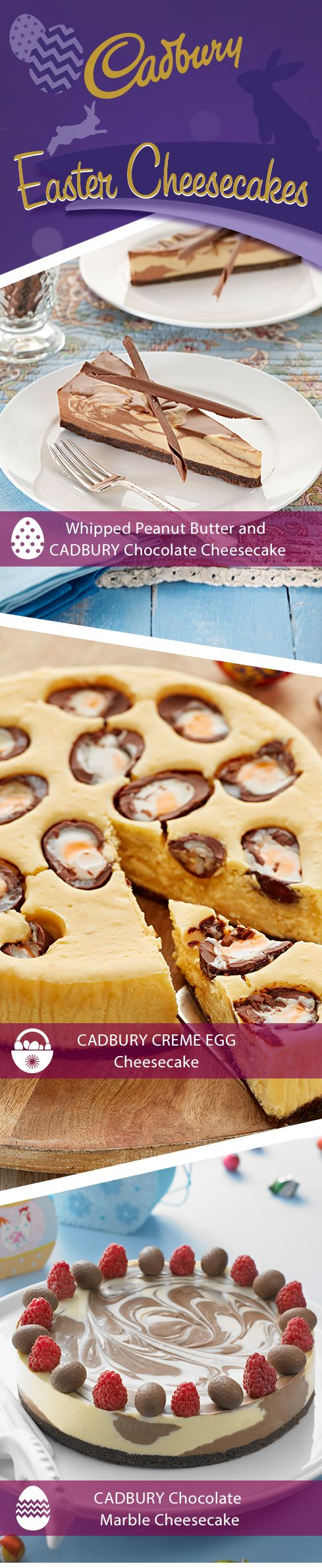 Add a touch of style to any #Easter table with these delectable #CADBURY cheesecakes. Great tasting and easy-to-make, everyone will be talking about them! #Cadburyrecipes #makeitdelicious #chocolate #Easter #cheesecake #Baking
