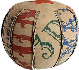 recycled circus tent canvas pouf. so cute.