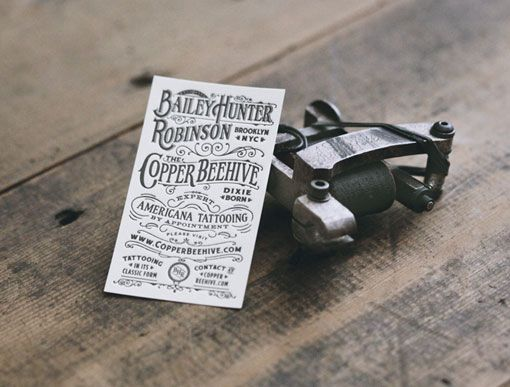 26 best vintage business cards images on pinterest vintage bailey hunter robinson the copper beehive tattoo artist brooklyn nyc by two arms inc reheart Image collections