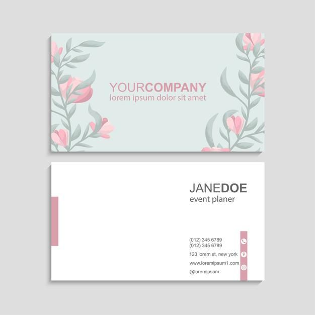 Download Flower Business Cards Template For Free In 2021 Green Business Card Design Business Card Design Minimal Business Card Design Simple