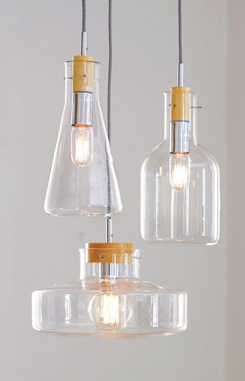 Lab 1 light modern pendant with bottle beaker, bowl or flat beaker shaped clear glass shade.