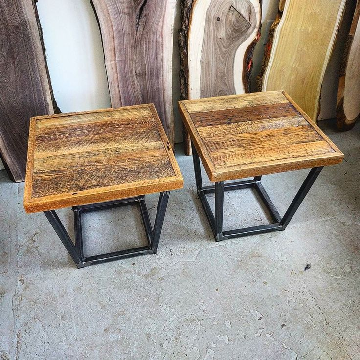 Headed out the door and off to a client today are these two custom reclaimed barn board end tables.  They are made with 100 plus year old rustic brown barn board enhanced with a satin polyurethane top coat.  The wood sits on a steel frame done on an angle for a bit of added interest.  We can make these any size and also do them as coffee tables.  Email with a size for a quote.  #endtable #coffeetable #table #furniture #shoplocal #ontariowood #woodporn #barnboard #woodworkforall…