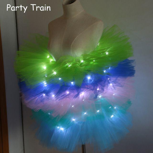 Mode dans LED tutu rok Up Neon Fancy Rainbow Mini Tutu Fancy Kostuum Volwassen licht Rok TFS Corset Tutu Rok DBL002