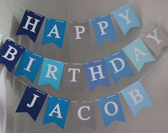 Boy Birthday Banner, Happy Birthday banner, Personalized Happy Birthday Banner, Custom Birthday Banner, Blue Gray Banner, Little Blue Truck