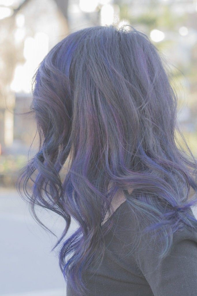 Blaue strähnchen kurze haare