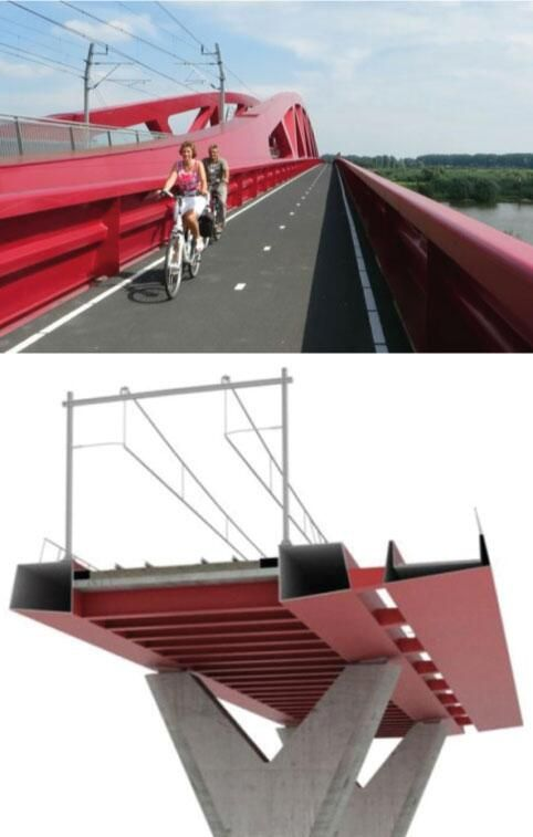 This rail-and-bike bridge is part of the high-speed cycle route between Zwolle and Hattem, NL. Click image to tweet and link to the Zwolle profile via Bicycle Dutch. Visit the Slow Ottawa 'Streets for Everyone' board for more multimodal infrastructure.