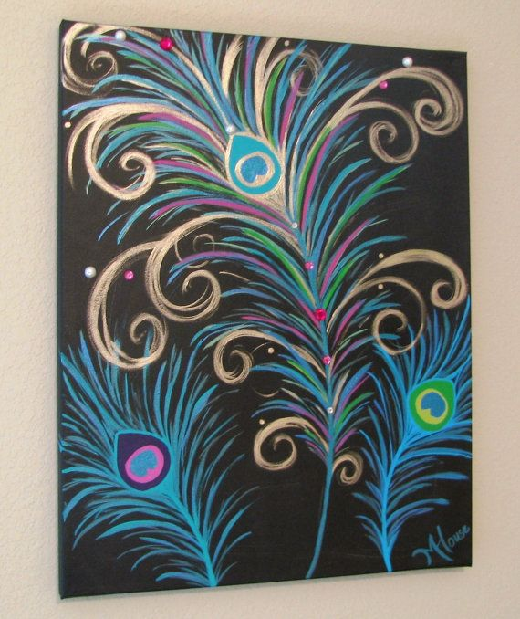 Peacock feathers painting on canvas.