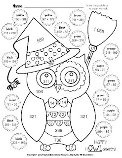 Halloween Owl Math Worksheet (Grades 2-5) How to modify into a GCF