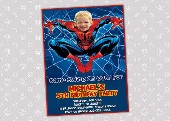 Spiderman Birthday Party Invitation - Your Child's face Spiderman - Digital File. $8.50, via Etsy.