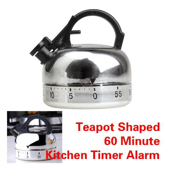 60 Minute Kitchen Timer Alarm Mechanical Teapot Shaped Timer Clock Counting Home Kitchen Tools E5M1