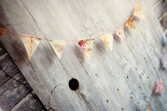 Vintage Floral Wedding Pennant Banner Bunting by cocosailore, $30.00