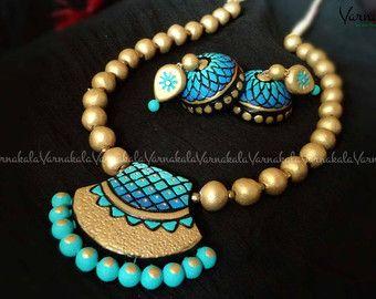 Terracotta Jewelry Silk Thread Jewelry Set GREEN & by Varnakala