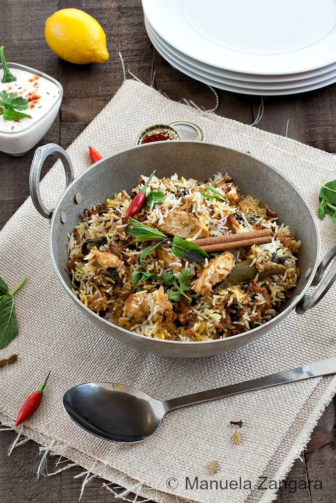 HYDERABADI CHICKEN BIRYANI It is one of my favourite Indian dishes.  Hyderabadi Chicken Biryani, like all the food of the area, is greatly influenced by the Mughals, Arabic, Turkish and Iranian food that use plenty of rice, wheat and spices.