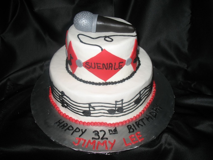 """Microphone Cake - This was a 6"""" and a 10"""" round iced in BC.  The birthday boy is a singer  in a Tejano band. """"Suenale"""" is the name of his new CD.  The diamonds  and microphone are fondant.  Musical notes and bars are piped in BC."""