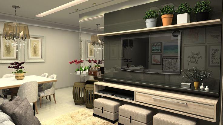 painel de sala em lacca preta com MDF; puff's de decoração assim como a prateleira de vidro para dar mais leveza ao espaço
