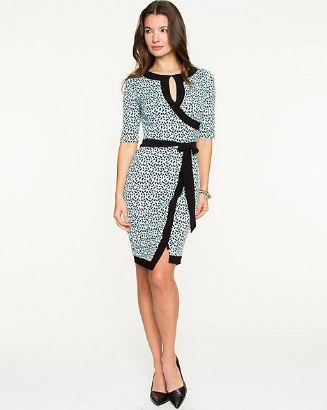 Brushstroke Print Knit Faux-Wrap Dress