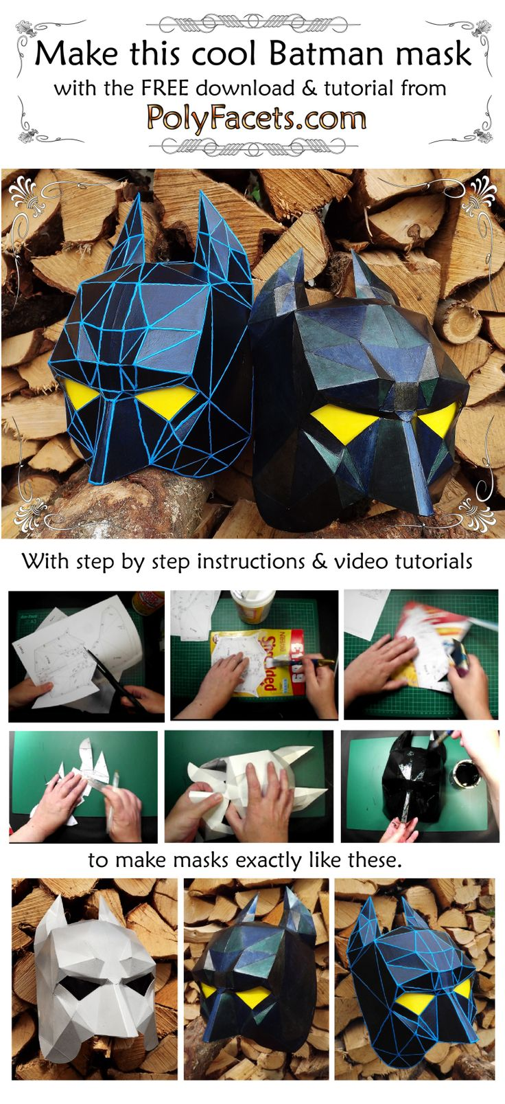 Batman Mask made with the Free Tutorial  and Download from PolyFacets
