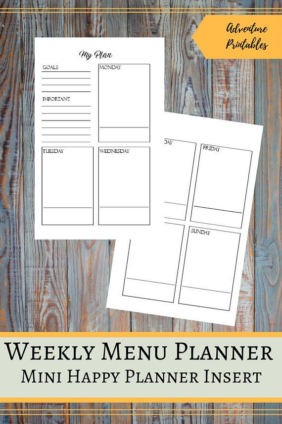 """Weekly Personal Planner Printable Insert for the Mini Happy Planner, Weekly Agenda, Personal Planner, Weekly Schedule, Mambi, Create 365   ▶WHAT IS INCLUDED  Weekly Personal Planner Insert design - 1 PDF File Weekly Personal PlannerInsert design - 2 JPG files Weekly Personal Planner Insert for prinintg - 1 PDF File Weekly Personal Planner Insert for printing - 1 JPG File Weekly Personal Planner Insert for printing on Letter Size- 1 PDF File   ▶ SIZE:  Mini Happy Planner: The design 4.5"""" x 7""""…"""
