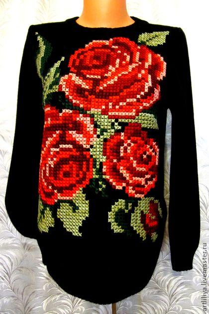 Кофты и свитера ручной работы. Ярмарка Мастеров - ручная работа джемпер вязаный женский Красные розы с вышивкой. Handmade.
