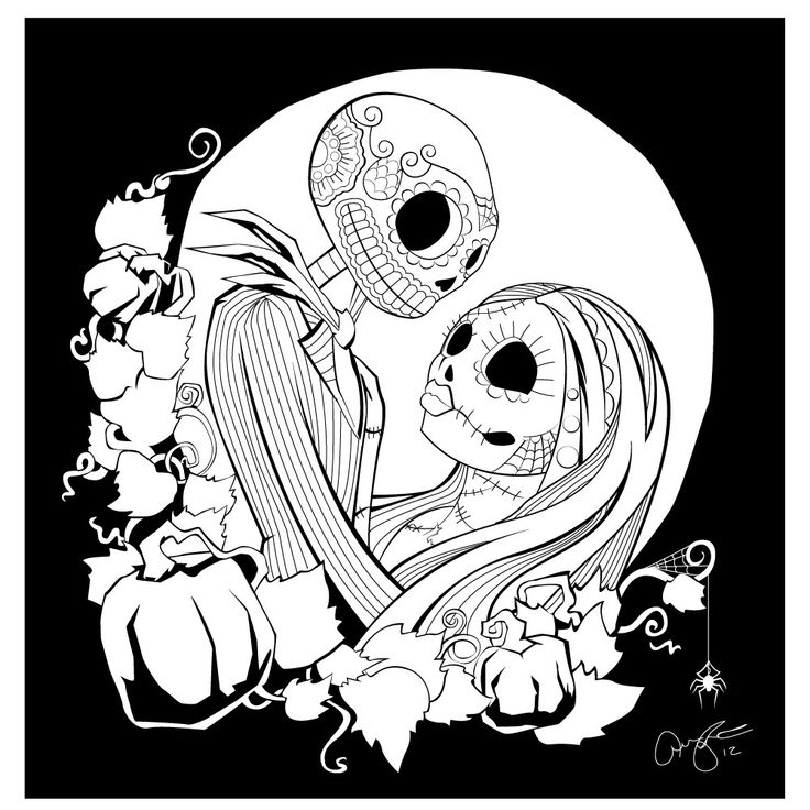 Jack And Sally In Quot Pesadillas De Calaveras Quot Coloring Sally Nightmare Before Coloring Pages
