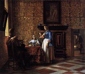 Interieur met goudleerbehang, ca 1665, door Pieter de Hooch   Goudleer - Wikipedia