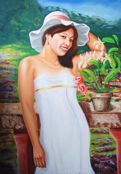 The Lady in White, Oil Painting