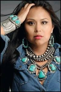 Statement turquoise necklace layered with Navajo pearls...