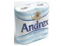 Andrex white 2 ply toilet tissue rolls, 279 Soft, strong and very long toilet tissue rollsFour pack of tissue lasts longer than the average pack of toilet tissueSoft and absorbent http://www.comparestoreprices.co.uk/office-supplies/andrex-white-2-ply-toilet-tissue-rolls-279.asp