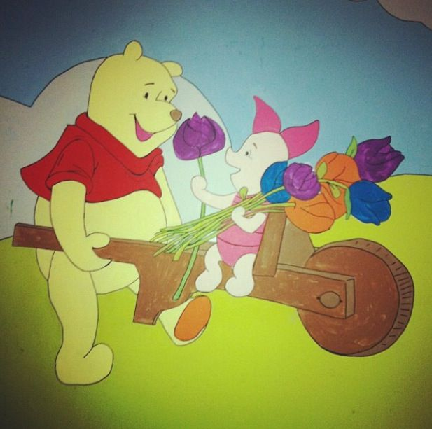 Pooh and piglet amazing wall art in a pre school!