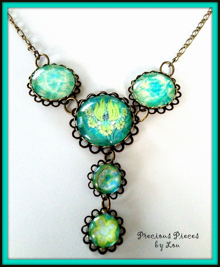 Glass dome Pendant- Ocean Delight made by Precious Pieces by Lou