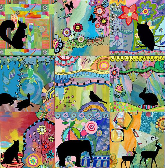 Animals All Around by Beth Nadler    Heres a print of my original collage. The image measures 8x8 and is printed  on 8.5 x 11 heavy-weight, matte