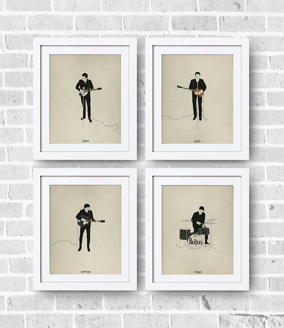 The Beatles Minimalist Set 8x10 Print - The Beatles