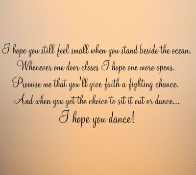 script hope you dance wall decal home decor pinterest quotes