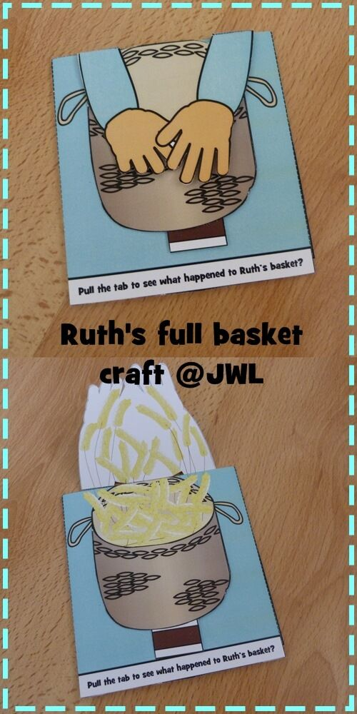 Simple pull tab craft for story of Ruth as found in Ruth 2... the basket of barley. #Jesuswithoutlanguage