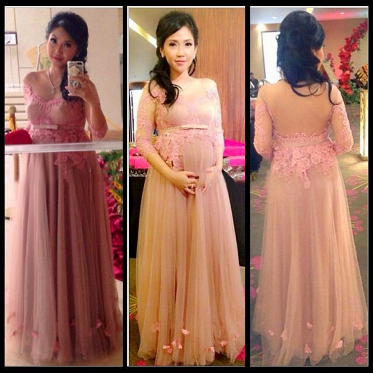 2015 New Women Evening Dresses Long Party Gown Maternity Evening Dresses Pink Appliques Lace Prom Dress Long Sleeve